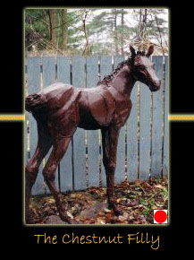 the chestnut filly steel sculpture by canadian sculptor hilary clark cole